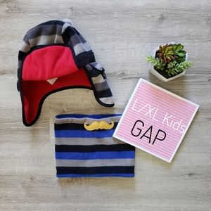 GAP KIDS striped fleece trapper hat & muffler